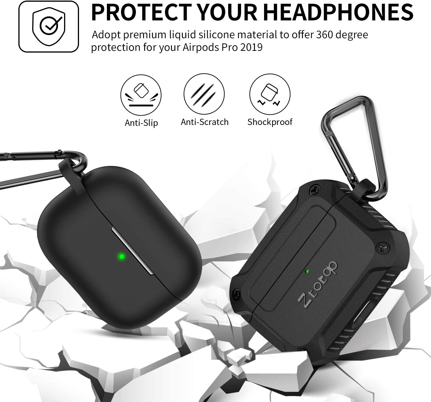 2 Pack with Smooth Skin Packaged with Full Tough Silicone Durable Armor Case+Soft Silicone Shock-Resistant Protective Cover Ztotop Case for AirPods Pro 2019 Atrous Suit
