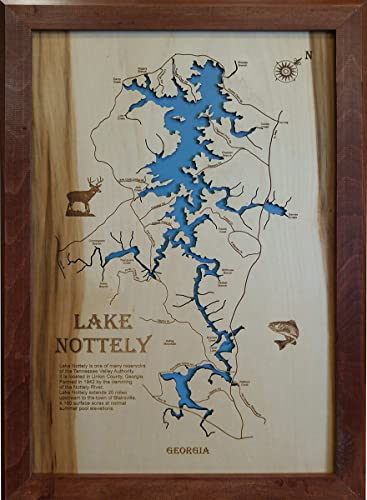 Amazon com: Lake Nottely, Georgia: Framed Wood Map Wall