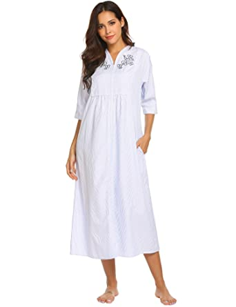 d9e04426cf Ekouaer House Dress Women s Short Sleeve Pajamas Shirts Striped Long Sleepwear  Dress (Blue