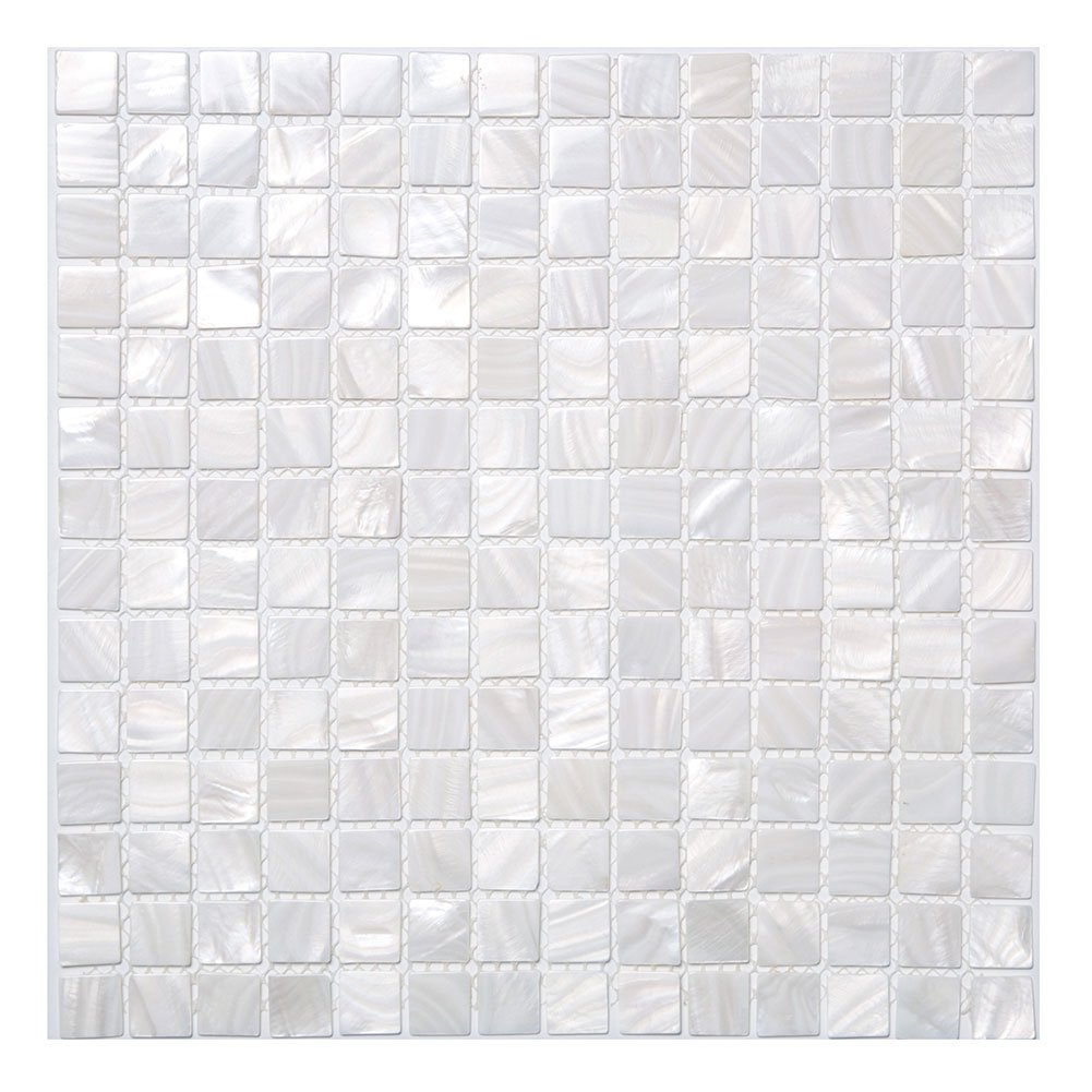 Soulscrafts White Mother of Pearl Square Mosaic Tile Sheets Kitchen backsplash Pack of 10 by Soulscrafts