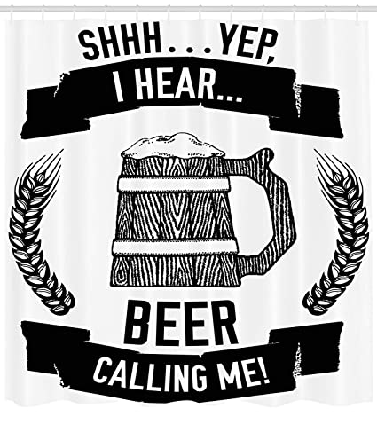 Lunarable Man Cave Shower Curtain I Hear Beer Calling Me Quote Style Hand Drawn Lager Stout Ale Wheat Mug Art Fabric Bathroom Decor Set With Hooks