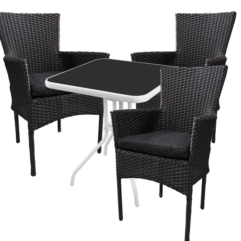 Mojawo® - Bistrogarnitur - 4-teilig - Bistrotisch Glas/Metall 60x60cmxH70cm weiß/schwarz + 3 Poly-Rattan-Sessel schwarz