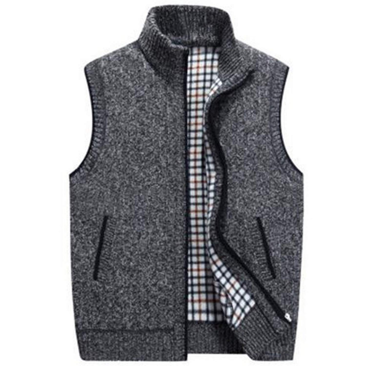 Vest Mens Sleeveless Knitted Vest Jacket 2019 New Warm Fleece Sleeveless Sweatercoat,Blue,XXXL,United States