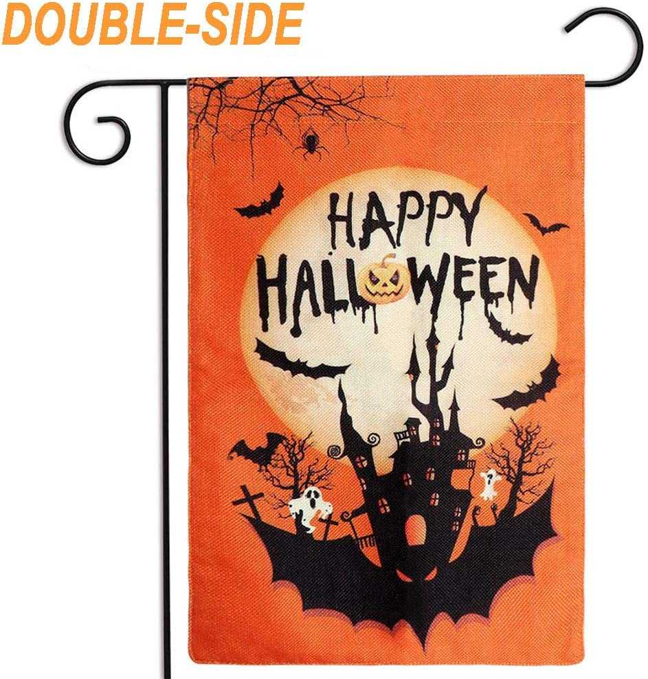 OurWarm Halloween Garden Flag Double Sided Halloween Flag, Spooky Pumpkin Bat Castle Burlap House Garden Yard Flag for Halloween Garden Yard Outdoor Decorations, 12.5 x 18 Inch