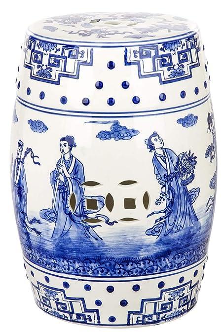 Admirable Safavieh Castle Gardens Collection Glazed Ceramic Blue Ocean Jewel Chinoiserie Garden Stool Creativecarmelina Interior Chair Design Creativecarmelinacom