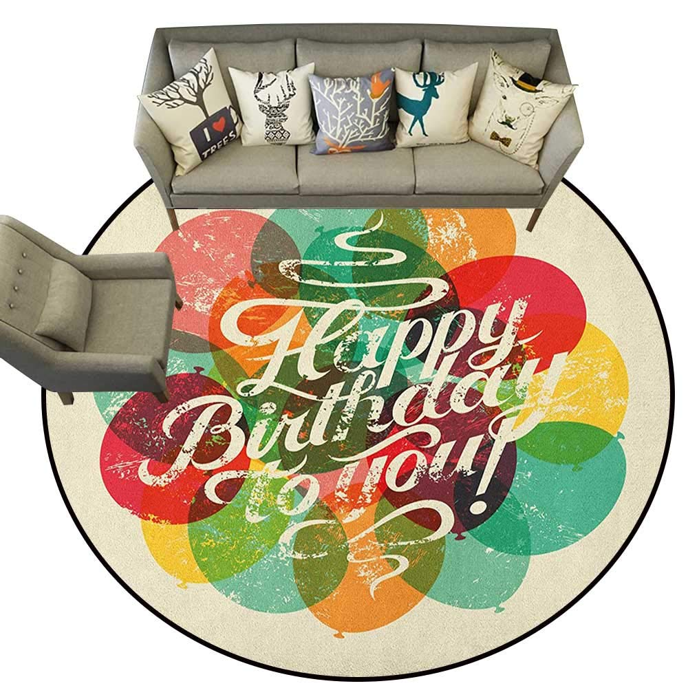 Style06 Diameter 60(inch& xFF09; Birthday,Personalized Floor mats The Words Happy Birthday with Vivid Balloons Confetti Rain Blithesome Happy Day D54 Floor Mat Entrance Doormat