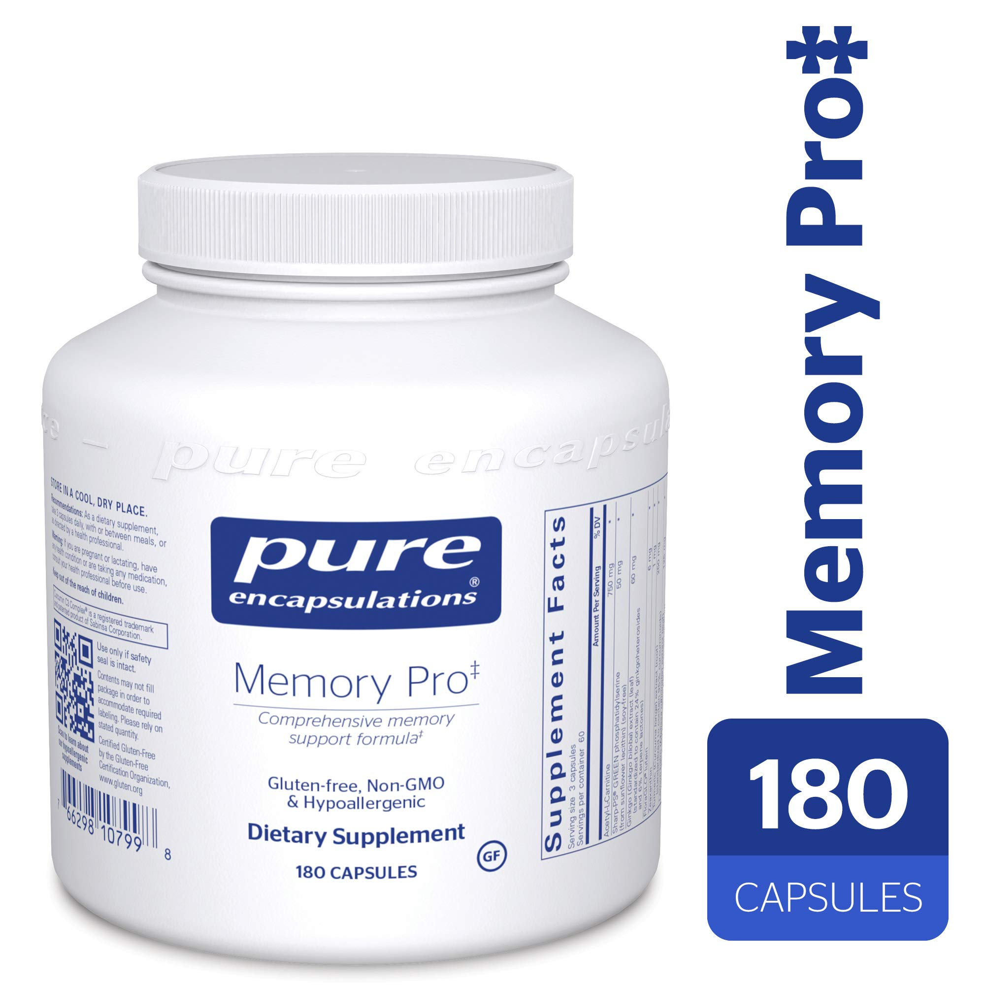 Pure Encapsulations - Memory Pro - Dietary Supplement with Broad-Spectrum Memory Support Formula* - 180 Capsules