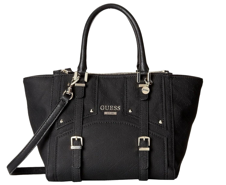 GUESS Women's Riki Satchel Bag Handbag (Black)