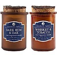 Northern Lights Fine Fragranced Aromatherapy Candle Spirit Jar Bundle — Whiskey & Tobacco and Dark Rum & Oak Fragrance…