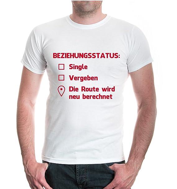 buXsbaum® T-Shirt Beziehungsstatus: Singel, vergeben, Route wird neu  berechnet: Amazon.de: Bekleidung