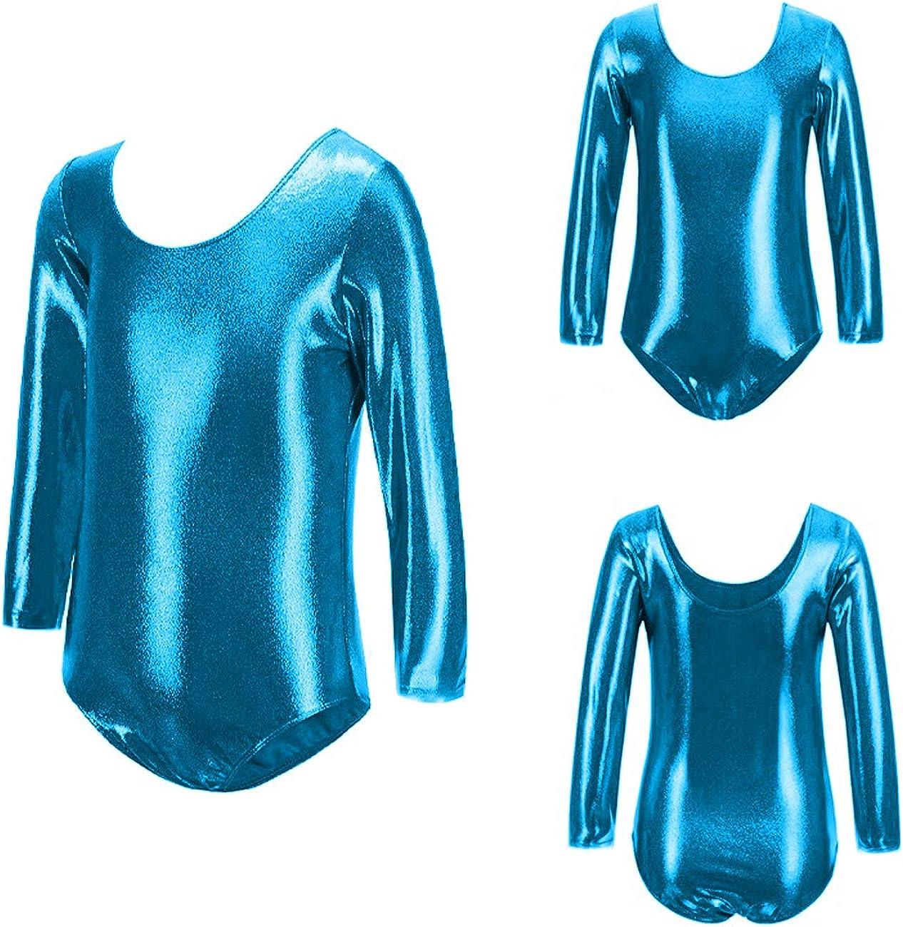 Furein Gymnastics Leotards for Girls and Women Long Sleeve//Sleeveless Round Neck Leotard Dancing Ballet Gymnastics Athletic Bodysuit