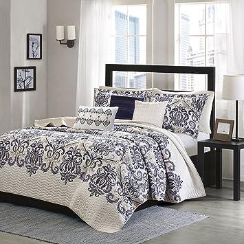 6 pièces bleu roi cal king california brodée cachemire de couvre lit imprimé doré