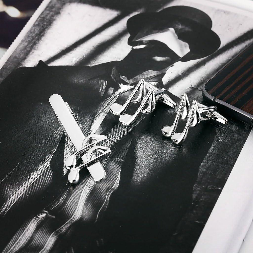 KnSam Men Stainless Steel Tie Clip Cufflinks Set Silver Music Notes Classic Tie Bar Shirt Stud