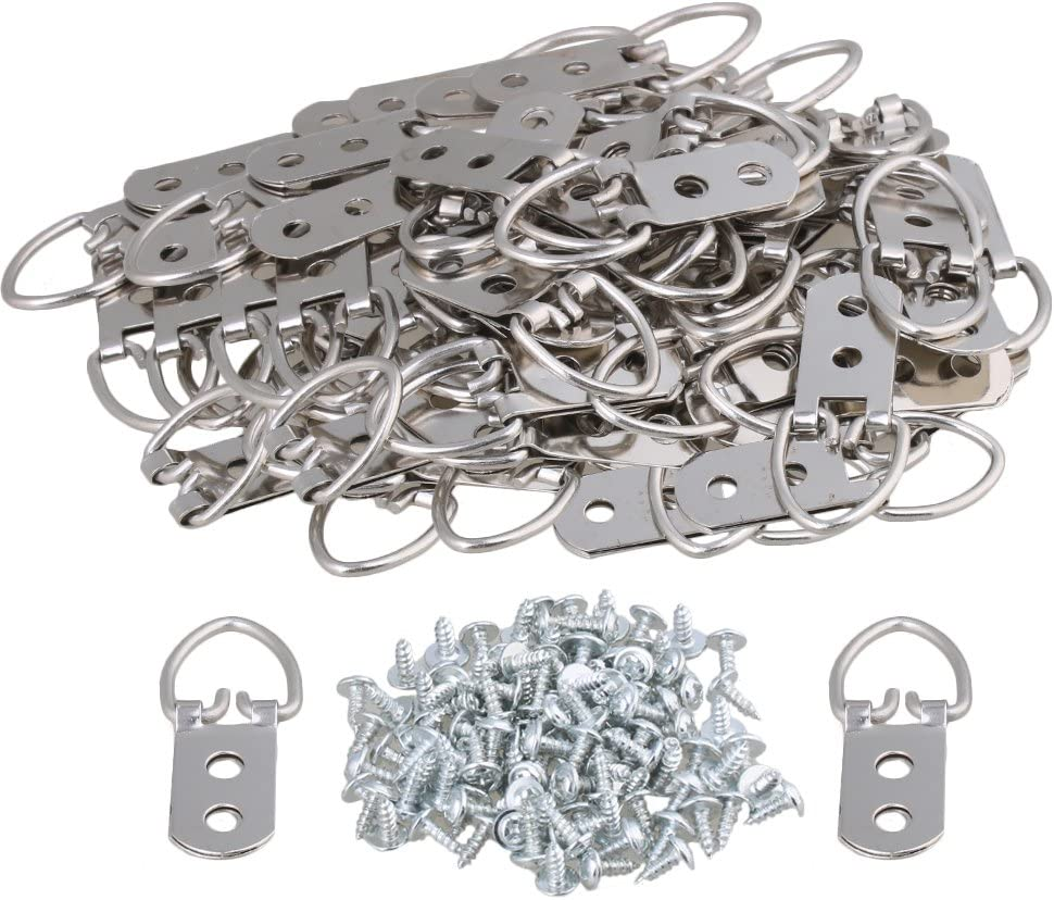 BQLZR 55 x 22 mm plata hierro D anillo espejo fotos ganchos Hanger 2 agujeros de montaje con tornillos Hogar Arte Decoración Pack de 50