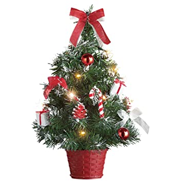 tabletop christmas trees with lights decorations