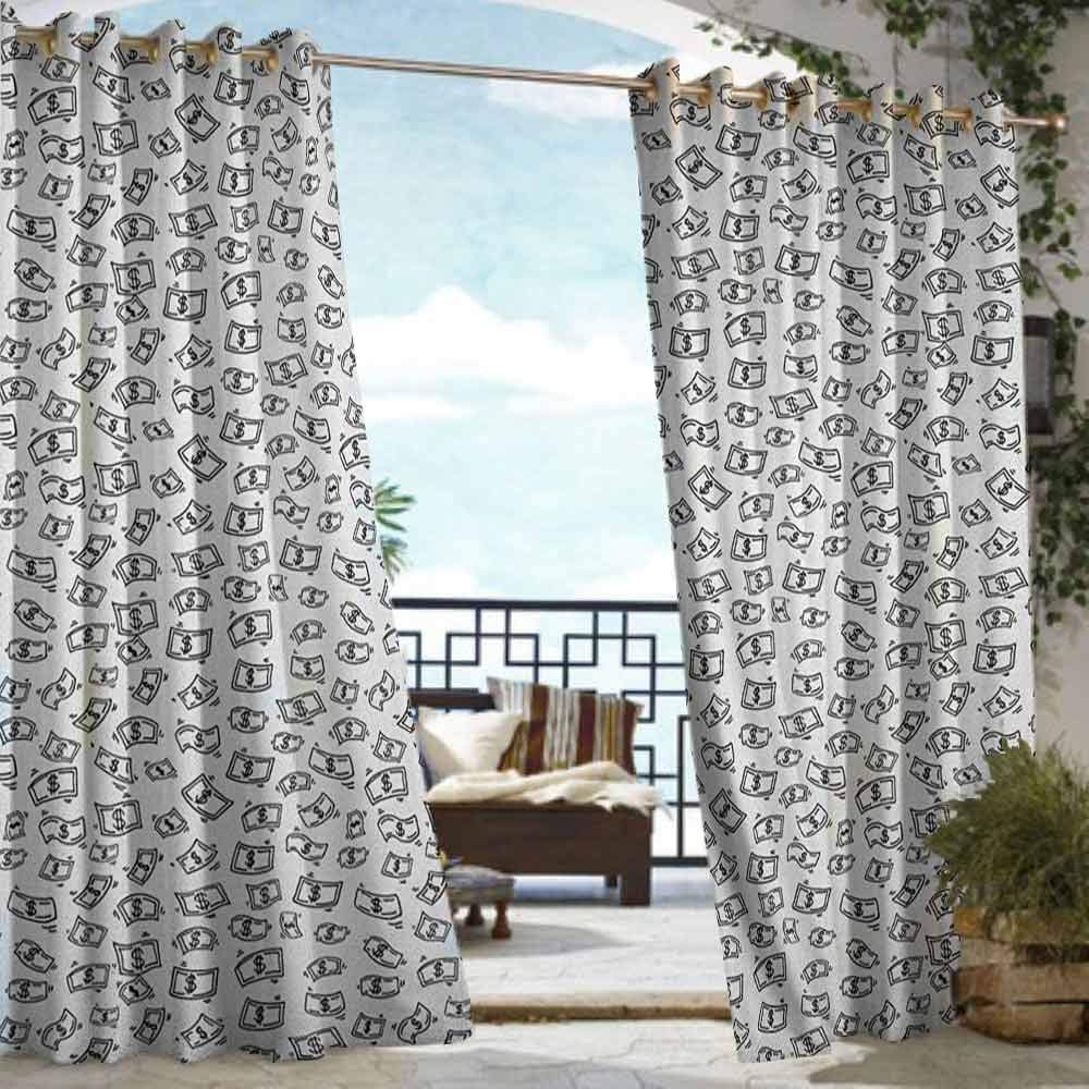 Outdoor Waterproof Curtains,Money Sketch Style Monochrome Raining Dollar Bills Cash Money Flying Bank Notes Design,Soft Fabric,W108x96L Black White by DonaHome