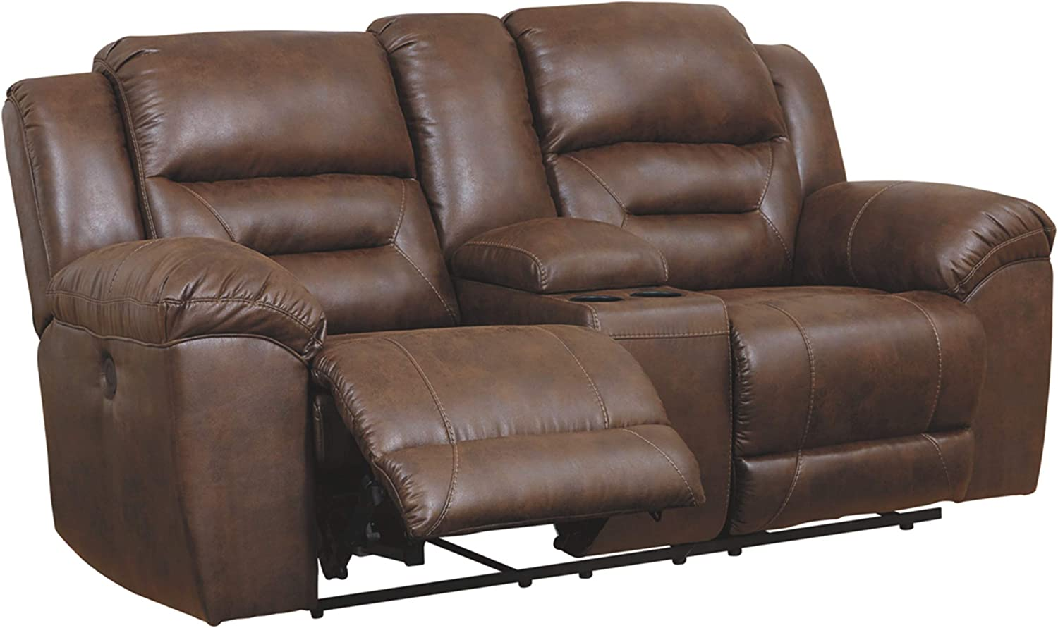 Signature Design by Ashley - Stoneland Faux Leather Double Reclining Power Loveseat with Console, Dark Brown