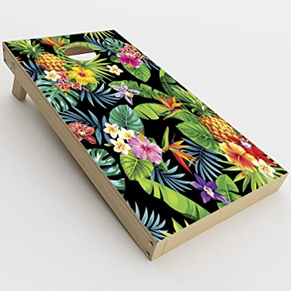 Skin Decal Vinyl Wrap for Cornhole Game Board Bag Toss tropical floral pattern pineapple palm trees Skins Stickers Cover 2xpcs.