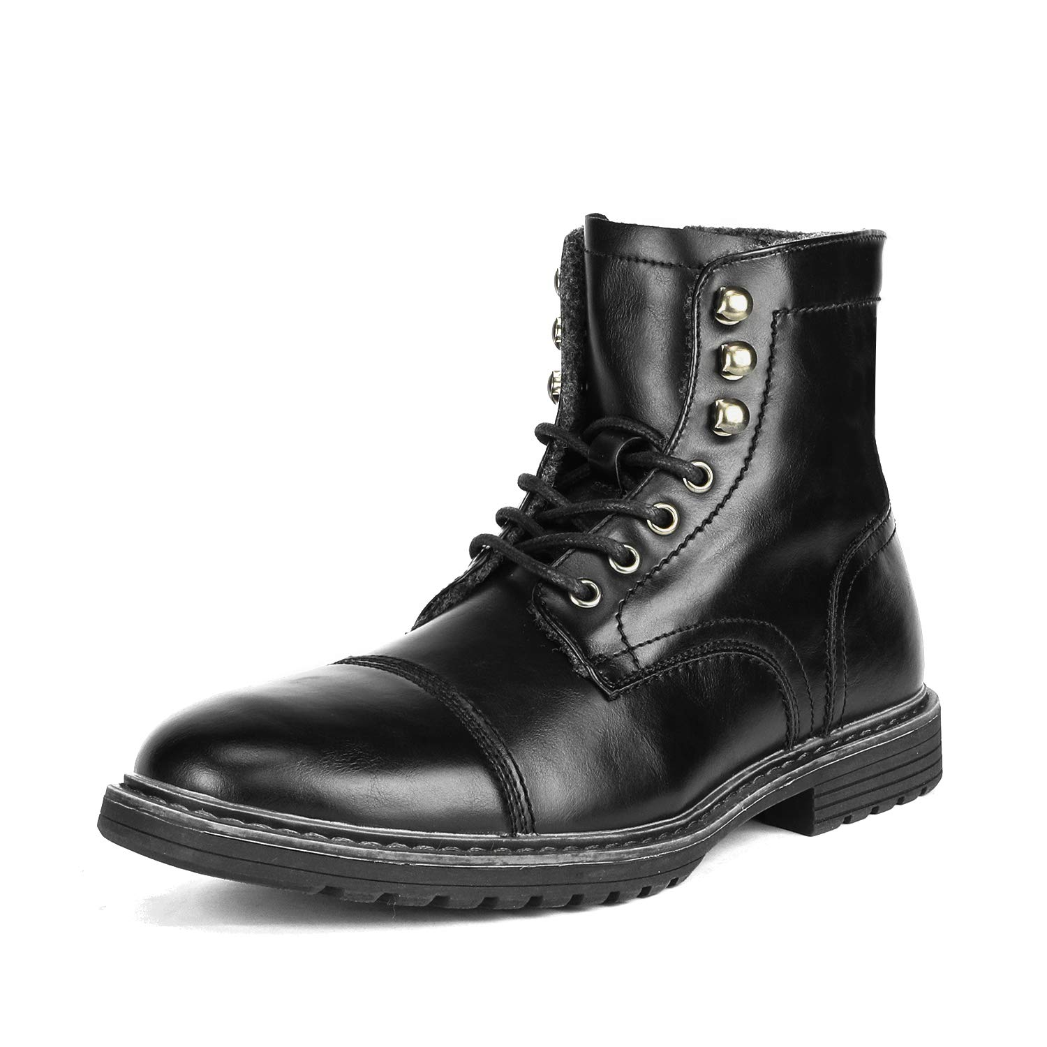 Bruno Marc Men's Philly_11 Black Dress Combat Motorcycle Oxfords Boots Size 10.5 M US