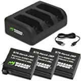 Wasabi Power Battery (3-Pack) and Triple Charger for GoPro HERO4 and GoPro AHDBT-401, AHBBP-401