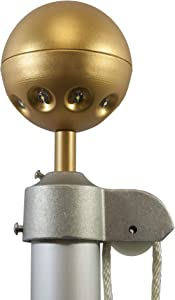 Valley Forge, Flag Pole Light, Aluminum, Hard-Wired, 8 LED Ultra Bright Bulbs, Gold Ball Top, Automatic On/Off Sensor