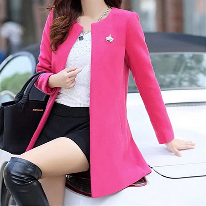 Amazon.com: Dapengzhu Fashion Round Neck Long Sleeve Women Coats S-XXL Solid Color Casaco Feminino Loose Cardigan New Autumn Slim Thin Outerwear Yellow XXL: ...