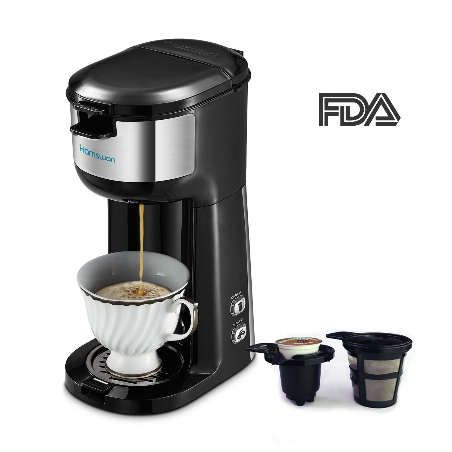 HAMSWAN Single Serve Coffee Maker Brewer, K Cup Coffee Maker Coffee Machine for K Cup Pods & Ground Coffee, Thermal Drip Small Coffee Pot