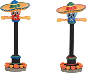 Department 56 Village Cross Product Accessories Halloween Day of The Dead Street Lights Lit Figurine Set, 3.875 Inch, Multicolor