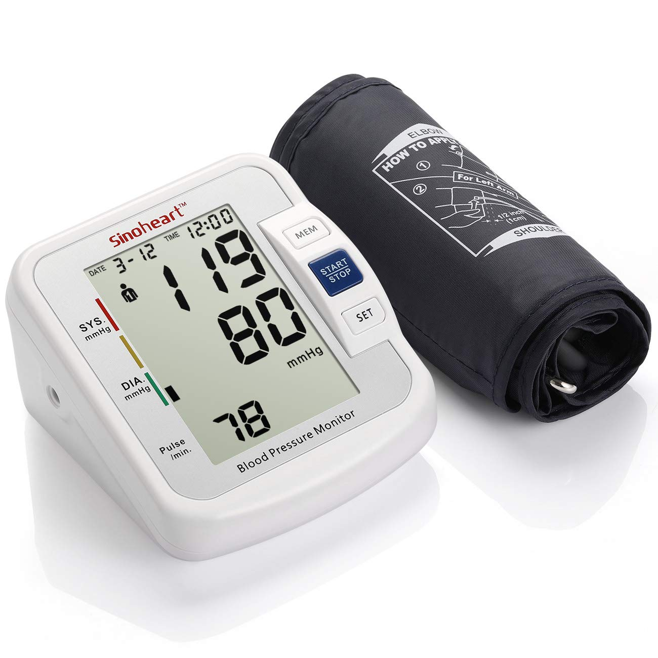 Blood Pressure Monitor with Large Cuff – Home Blood Pressure Monitor – Large Digital Display and Upper Arm Cuff for Monitoring Blood Pressure and Irregular Heart Beat