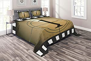 Ambesonne Movie Theater Coverlet, Grunge Countdown Frame with Number in a Circle Film Strip, 3 Piece Decorative Quilted Bedspread Set with 2 Pillow Shams, Queen Size, Brown Black