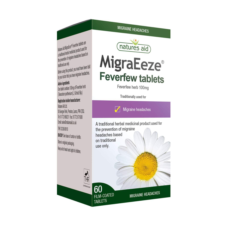 Natures Aid MigraEeze Feverfew, Prevent Migraine Headaches, Vegan, 60 Tablets