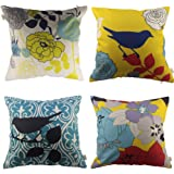 "HOSL Decorative Pillow Cover Case Pack of 4 About 18"" X 18""(Bird And Flower)"