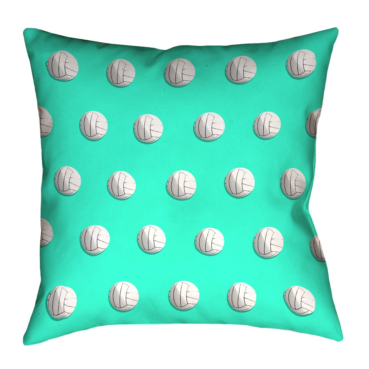 ArtVerse Katelyn Smith 20 x 20 Cotton Twill Double Sided Print with Concealed Zipper /& Insert Teal Volleyball Pillow