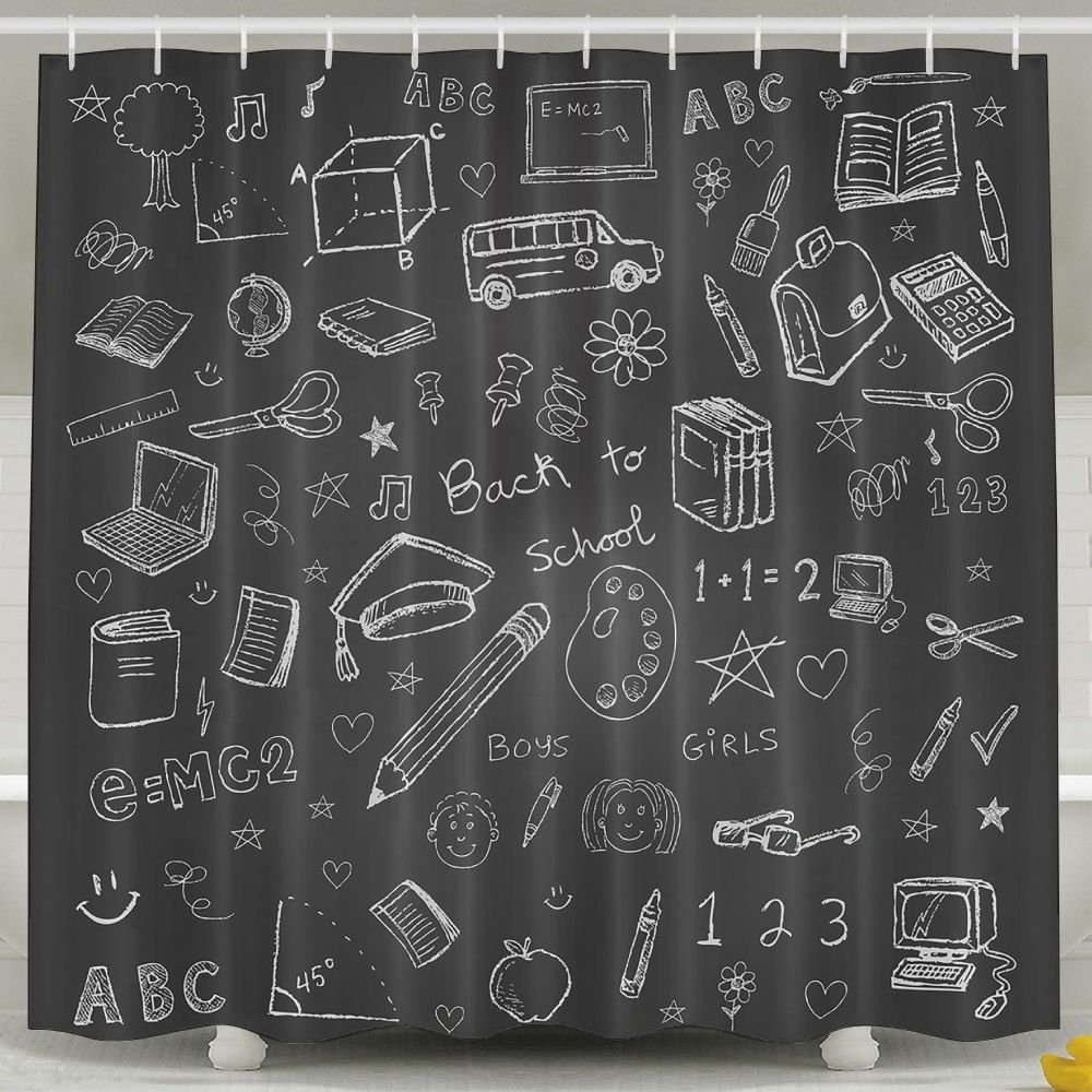 BINGOING Funny Fabric Shower Curtain Back To School Doodles Waterproof Bathroom Decor With Hooks 60 X 72 Inch