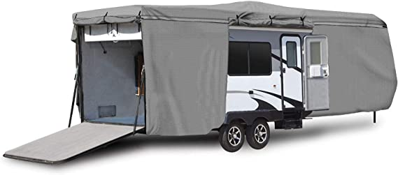 North East Harbor Waterproof Superior RV Motorhome Travel Trailer/Toy Hauler Cover Fits Length 22'-24' Camper Zippered Panels Allow Access To The Door