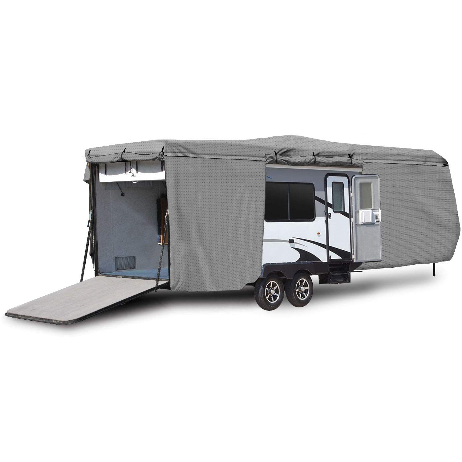 Waterproof Superior RV Motorhome Travel Trailer/Toy Hauler Cover Fits Length 18'-20' Travel Trailer Camper Zippered Panels Allow Access To The Door, Engine, Side Storage Areas, and Ramp Door by North East Harbor