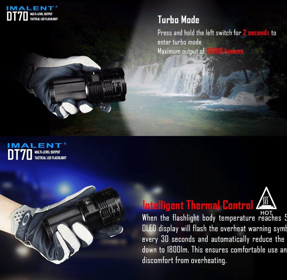 Luz de alta lúmenes de búsqueda IMALENT DT70 4 x HP70 LED de máxima potencia 16000lm linterna manta 700 metros linterna con 4pcs baterías: Amazon.es: ...