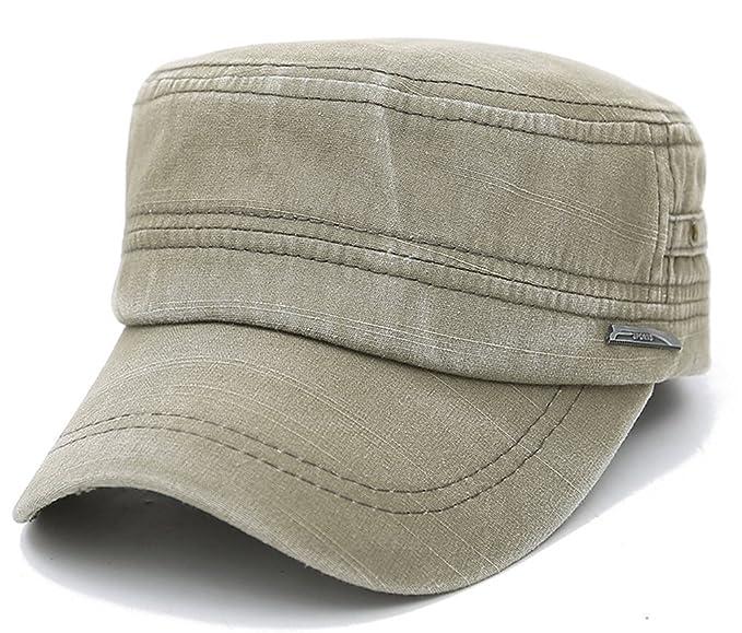 f90e7e7fbd702 ChezAbbey Men s Distressed Solid Brim Flat Top Cap Washed Cotton Cadet  Style Hat Casual Peaked Cap