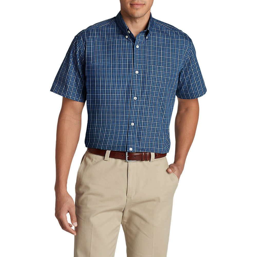 d01a1f5f8e Top4  Eddie Bauer Men s Wrinkle-Free Relaxed Fit Short-Sleeve Pinpoint  Oxford Shirt -
