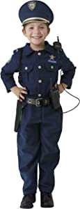 Dress Up America Deluxe Police Dress Up Costume Set - Includes Shirt, Pants, Hat, Belt, Whistle, Gun Holster and Walkie Talkie (T2),Blue,T2