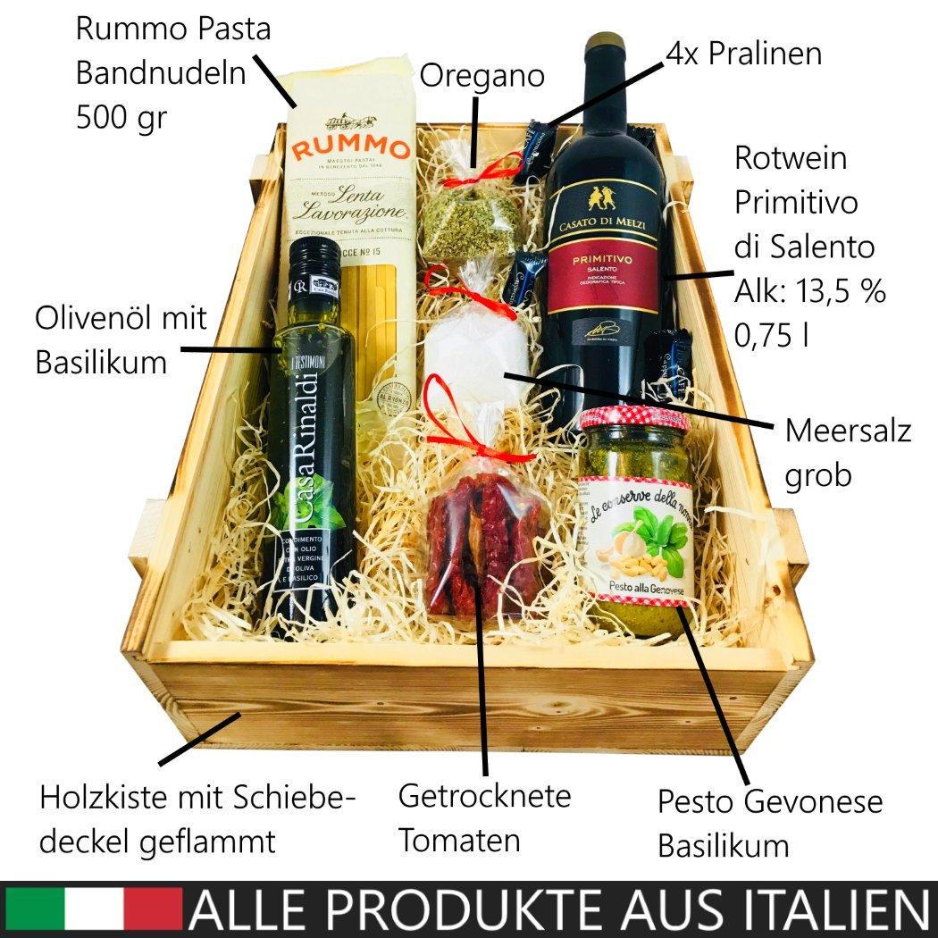 Italienisches Geschenkset mit Holzkiste | Italienischer Geschenkkorb ...