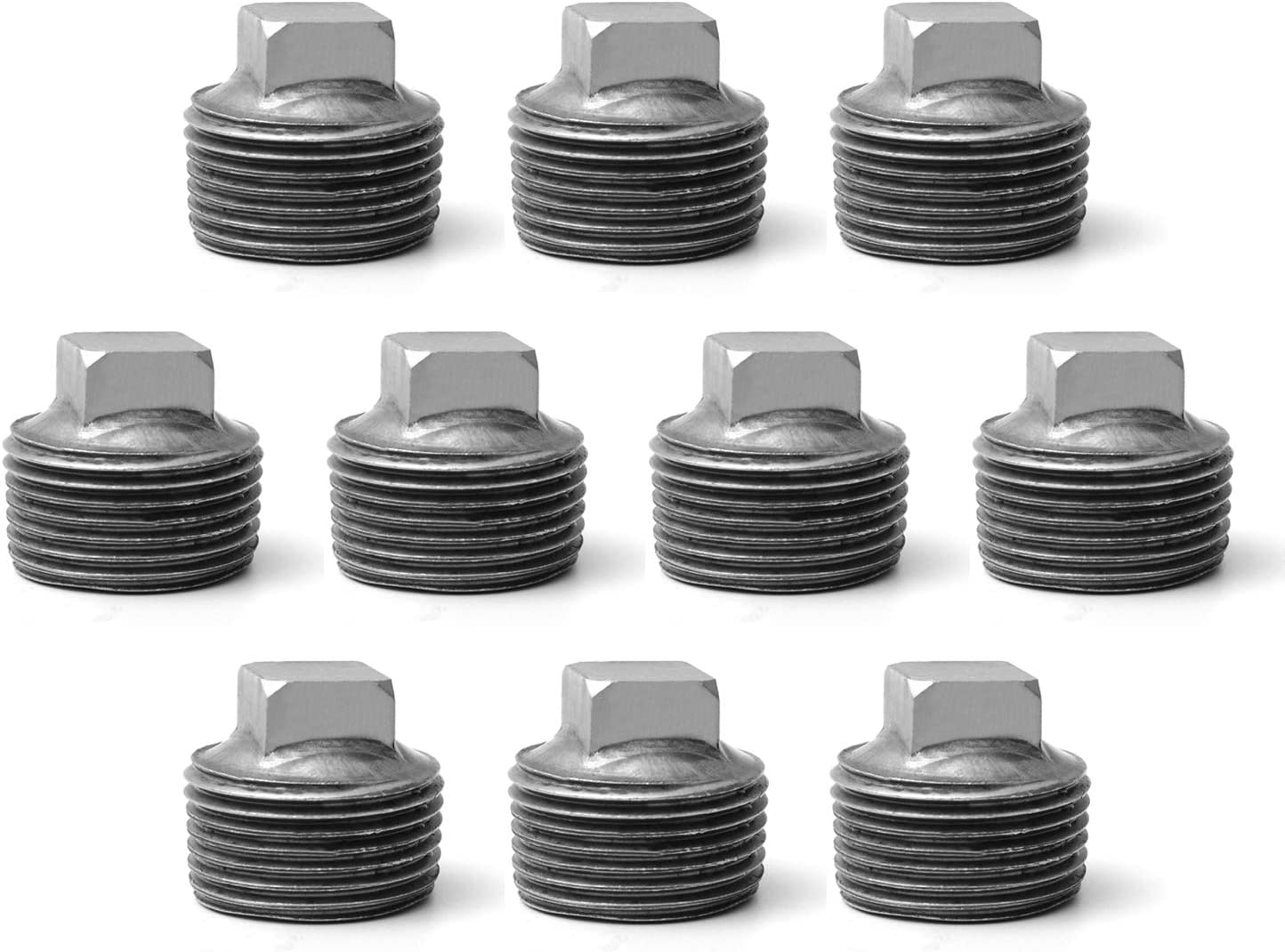 """3/4"""" Pipe Fitting Male Cap, Home TZH 10 Pack Malleable Iron Cast Black Pipe Male Square Caps for Steam-punk Vintage Shelf Bracket DIY Plumbing Pipe Decor Furniture (10, 3/4"""")"""