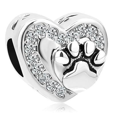Sug Jasmin Heart Love Pet Dog / Cat Paw Print Charm Beads For Bracelet ZX350Kpg