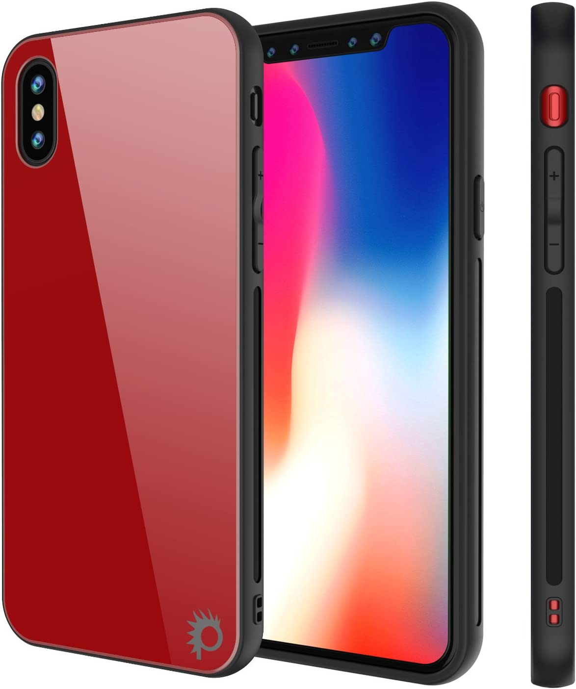 iPhone 8 Case, Punkcase GlassShield Ultra Thin Protective 9H Full Body Tempered Glass Cover W/Drop Protection & Non Slip Grip for Apple iPhone 7 / Apple iPhone 8 (Red)