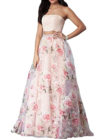 925af8e16a Yiweir Women s Two Piece Strapless Prom Dresses 2018 Long Floral Lace Formal  Evening Gowns YF015 at Amazon Women s Clothing store