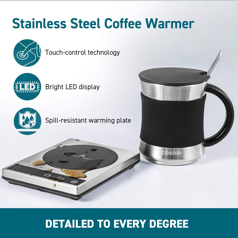 AC//DC Adapter 25/°-110/°C einstellbaren Temperaturen mit 500ml Edelstahl Kaffeebecher COSORI Tassenw/ärmer Kaffeew/ärmer 24W W/ärmeplatte Heizplatte f/ür Tee Kaffee Milch Kakao ideal f/ür B/üro Zuhause