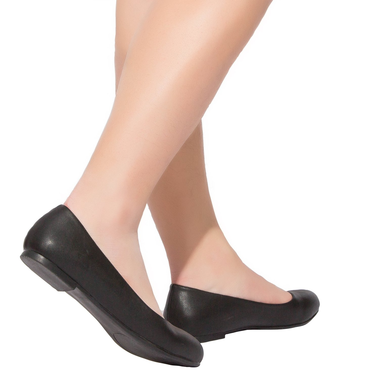 Luoika Women's Wide Width Flat Shoes - Comfortable Slip On Round Toe Ballet Flats. (180110 Black PU,9WW) by Luoika (Image #7)