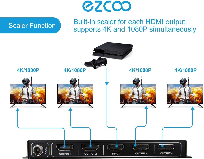 CEC SP14HS Splitter Scaler 1x4 4K 60Hz 4:4:4 HDR Dolby Vision HDCP2.2 Daisy Chain Cuatro Puertos HDMI Down Scaler Play 4K 1080P Sync Independiente HDMI 2.0 Splitter 1 en 4 Salidas Memoria EDID