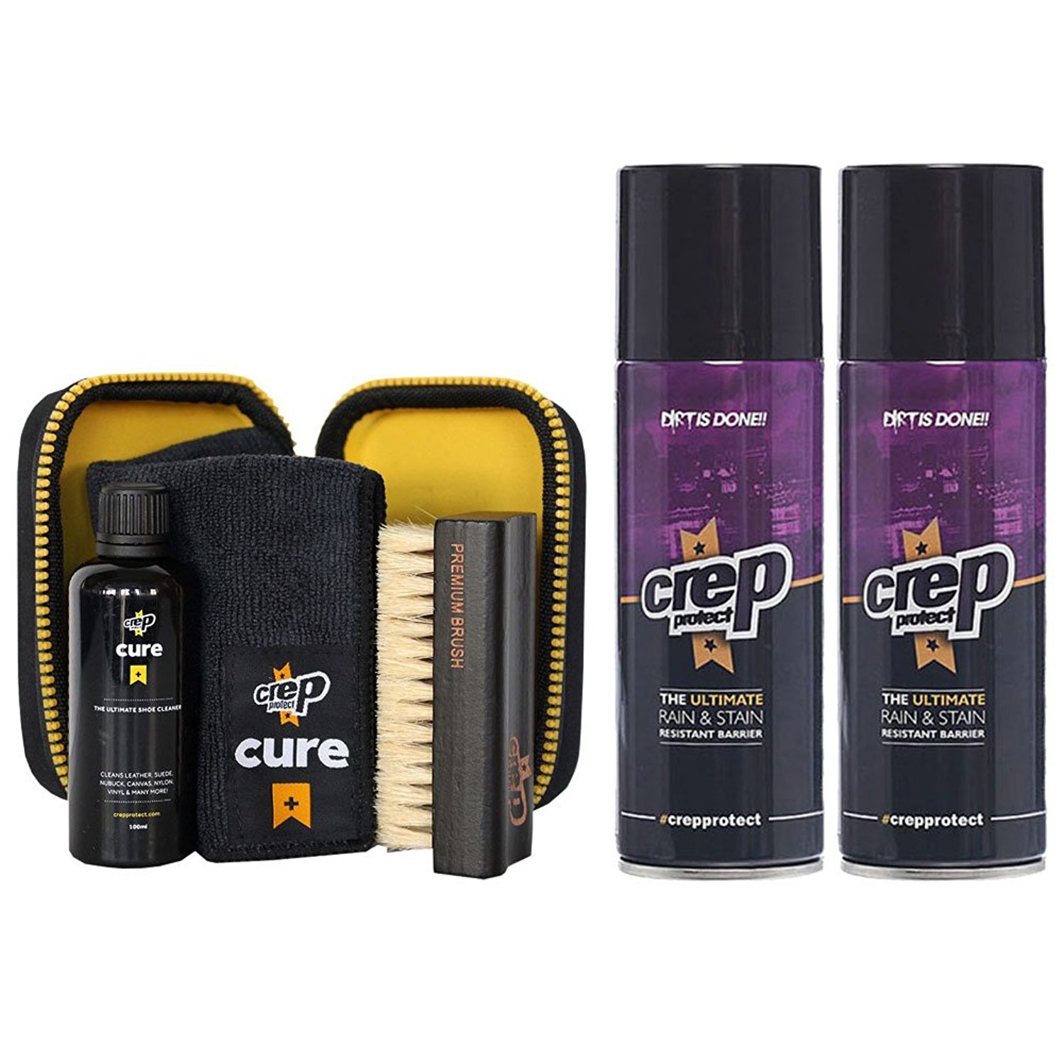 Crep Protect Cure Travel Kit and 2 Ultimate Rain & Stain Shoe Spray (Bundle Gift Pack)