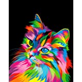 ifymei Paint by Numbers for Kids & Adults & Beginner , DIY Canvas Painting Gift Kits 16 x 20 inch - Colorful Cat - Without Fr